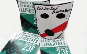 mascara folletos manifestacion contra ley mordaza - valencia serigrafia
