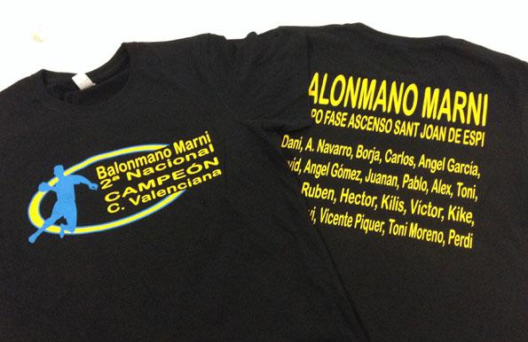 camisetas vinilo balonmano marni - valencia serigrafia