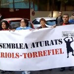 pancarta manifestacion assemblea aturats - Valencia Serigrafia