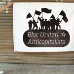 pancarta BUA Bloc Unitari Anticapitalista - valencia serigrafia