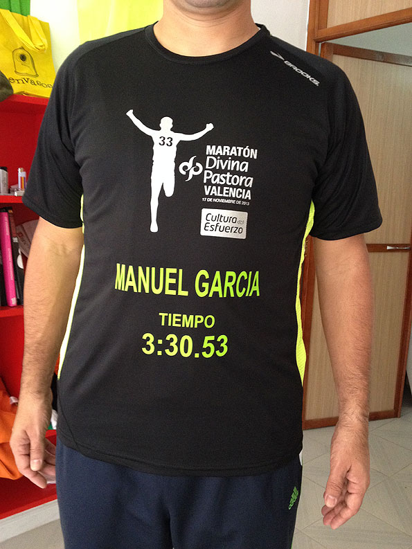 camiseta corredor maraton divina pastora valencia serigrafia